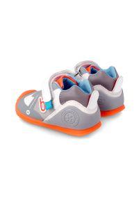 Szare buty sportowe Biomecanics na rzepy, z okrągłym noskiem, z cholewką
