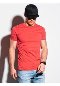 Ombre Clothing - T-shirt męski bawełniany basic S1370 - koralowy - XXL. Kolor: pomarańczowy. Materiał: bawełna. Styl: klasyczny
