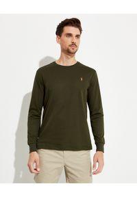 Ralph Lauren - RALPH LAUREN - Zielona koszulka z długim rękawem. Typ kołnierza: polo. Kolor: zielony. Materiał: tkanina, bawełna. Długość rękawa: długi rękaw. Długość: długie. Wzór: haft
