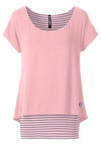 Różowa bluzka bonprix długa, retro, z krótkim rękawem