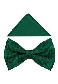 Modini - Zielona mucha w unikatowy wzór A355. Kolor: zielony. Materiał: tkanina, poliester. Styl: elegancki