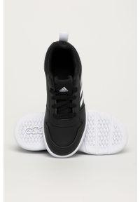 Czarne buty sportowe Adidas na sznurówki, z okrągłym noskiem, z cholewką