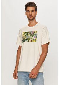 Kremowy t-shirt Levi's® na spotkanie biznesowe, w kolorowe wzory, z okrągłym kołnierzem, biznesowy