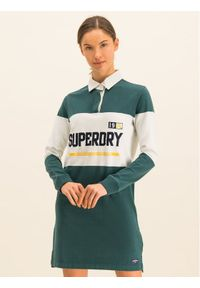 Superdry Sukienka dzianinowa Webb Rugby W8000056A Zielony Regular Fit. Kolor: zielony. Materiał: dzianina
