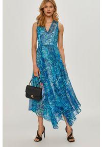 Niebieska sukienka TwinSet prosta, na co dzień, klasyczna, w kwiaty