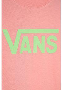 Różowa bluzka z krótkim rękawem Vans z okrągłym kołnierzem, z nadrukiem