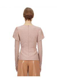 SELF PORTRAIT - Beżowa bluzka z krepy z kryształami. Kolor: beżowy. Materiał: tkanina. Długość rękawa: długi rękaw. Długość: długie. Wzór: aplikacja. Styl: elegancki, glamour