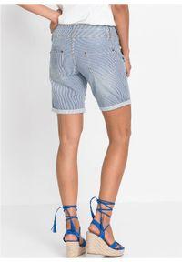 Niebieskie jeansy bonprix krótkie, w paski