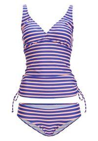 Niebieski strój kąpielowy bonprix w paski