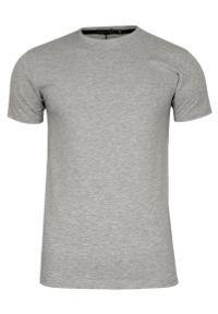 Szary, Popielaty T-shirt Męski, Krótki Rękaw -Just Yuppi- Koszulka, BASIC, Jednokolorowa, U-Neck. Okazja: na co dzień. Kolor: szary. Materiał: bawełna, elastan. Długość rękawa: krótki rękaw. Długość: krótkie. Styl: casual