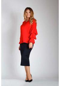 Czerwona bluzka z długim rękawem Nommo z falbankami, wizytowa, plus size