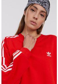adidas Originals - Bluza bawełniana. Kolor: czerwony. Materiał: bawełna
