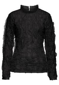 Czarna bluzka bonprix w koronkowe wzory, ze stójką