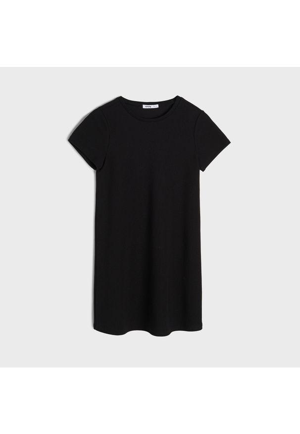 Sinsay - Dresowa sukienka - Czarny. Kolor: czarny. Materiał: dresówka