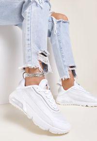 Renee - Białe Buty Sportowe Azama. Zapięcie: bez zapięcia. Kolor: biały. Materiał: materiał. Szerokość cholewki: normalna. Wzór: aplikacja