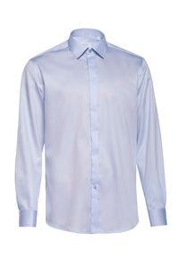 Niebieska elegancka koszula VEVA z długim rękawem, długa, w kolorowe wzory