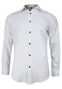 Biała elegancka koszula Grzegorz Moda Męska długa, na spotkanie biznesowe
