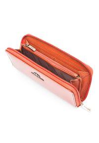 Wittchen - Damski portfel ze skóry lakierowany na suwak. Kolor: pomarańczowy. Materiał: skóra, lakier. Wzór: aplikacja