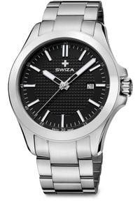 Zegarek Swiza Zegarek męski Urbanus SST czarno-srebrny (WAT.0761.1003). Kolor: czarny, srebrny, wielokolorowy