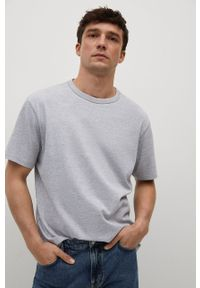 Mango Man - T-shirt bawełniany ANOUK. Kolor: szary. Materiał: bawełna