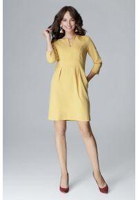 Żółta sukienka wizytowa Katrus prosta, wizytowa