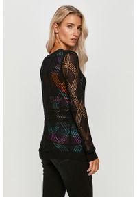 Czarny sweter Desigual z długim rękawem, w ażurowe wzory, casualowy, długi