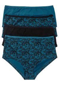 """Figi panty """"maxi"""" (4 pary), bawełna organiczna bonprix czarno-niebieskozielony z nadrukiem. Kolor: czarny. Materiał: bawełna. Wzór: nadruk"""
