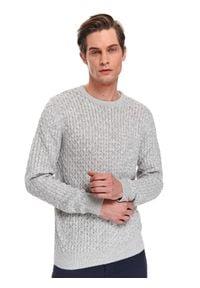 TOP SECRET - Sweter strukturalny. Kolor: szary. Materiał: materiał. Długość rękawa: długi rękaw. Długość: długie. Sezon: wiosna