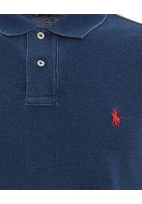 Niebieskie polo z krótkim rękawem Ralph Lauren z haftami, polo