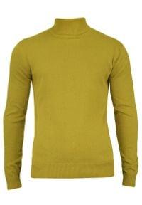 Golf Limonkowy Elegancki, Męski, 100% BAWEŁNA, Klasyczny, Jasnozielony, Żółty -Brave Soul. Typ kołnierza: golf. Kolor: zielony, wielokolorowy, żółty. Materiał: bawełna. Sezon: zima, jesień. Styl: elegancki, klasyczny