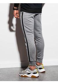Ombre Clothing - Spodnie męskie dresowe joggery P898 - szary melanż - XXL. Kolor: szary. Materiał: dresówka. Wzór: melanż. Styl: elegancki