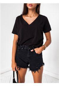 Marsala - T shirt z dekoltem w kształcie V w kolorze CZARNYM - V NECK BY MARSALA. Typ kołnierza: dekolt w kształcie V. Kolor: czarny. Materiał: bawełna, elastan. Wzór: gładki. Styl: elegancki