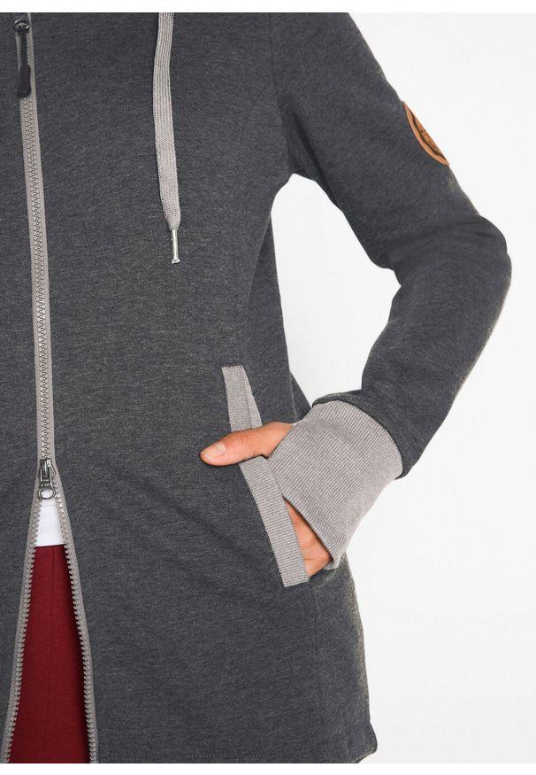Szara bluza bonprix z kapturem, długa