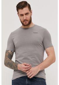 G-Star RAW - G-Star Raw - T-shirt/polo D19070.C723. Typ kołnierza: polo. Kolor: szary. Materiał: bawełna. Wzór: aplikacja