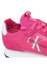 Różowe półbuty Calvin Klein Jeans na płaskiej podeszwie, z cholewką