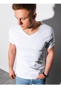 Ombre Clothing - T-shirt męski bawełniany basic S1369 - biały - XXL. Kolor: biały. Materiał: bawełna. Styl: klasyczny