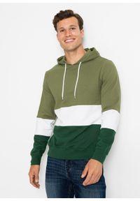 Bluza z kapturem bonprix zielony lodenowy - biały - ciemnozielony w paski. Typ kołnierza: kaptur. Kolor: zielony. Wzór: paski #6