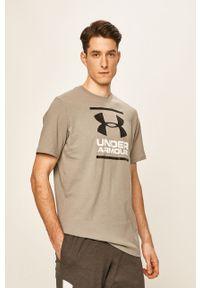 Szary t-shirt Under Armour z nadrukiem, na co dzień, z okrągłym kołnierzem, casualowy