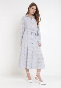 Born2be - Jasnoniebieska Sukienka Aqiarial. Kolor: niebieski. Materiał: koronka, materiał. Długość rękawa: długi rękaw. Wzór: koronka, ażurowy. Typ sukienki: rozkloszowane. Długość: maxi