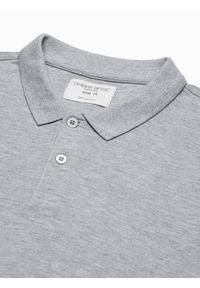 Ombre Clothing - Longsleeve męski bez nadruku L132 - szary melanż - XXL. Typ kołnierza: polo. Kolor: szary. Materiał: bawełna, materiał, jeans. Długość rękawa: długi rękaw. Wzór: melanż