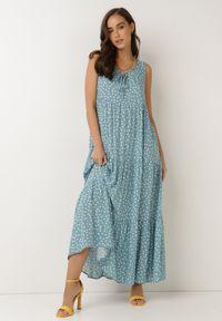 Born2be - Niebieska Sukienka Aigamia. Kolor: niebieski. Materiał: tkanina, wiskoza. Długość rękawa: bez rękawów. Wzór: kropki. Sezon: lato. Długość: maxi