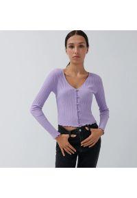 House - Krótka bluzka z prążkowanej dzianiny - Fioletowy. Kolor: fioletowy. Materiał: dzianina, prążkowany. Długość: krótkie