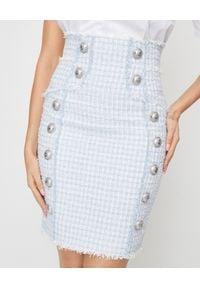 Balmain - BALMAIN - Tweedowa spódnica mini. Stan: podwyższony. Kolor: niebieski. Materiał: tkanina. Wzór: aplikacja