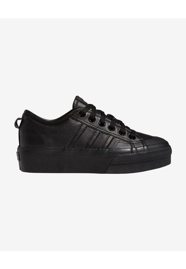Czarne tenisówki adidas Originals w kolorowe wzory, na sznurówki, z okrągłym noskiem