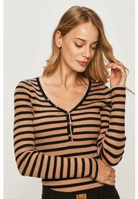 Beżowy sweter Morgan z długim rękawem, krótki