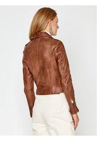 LaMarque Kurtka skórzana Donna 1090 Brązowy Regular Fit. Kolor: brązowy. Materiał: skóra