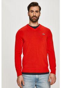 Czerwony sweter Lacoste casualowy, z aplikacjami, z długim rękawem