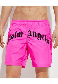 PALM ANGELS - Różowe spodenki kąpielowe z logo. Kolor: różowy, fioletowy, wielokolorowy. Materiał: materiał. Wzór: nadruk