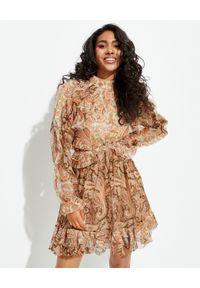 ZIMMERMANN - Jedwabna sukienka z odkrytymi plecami. Kolor: beżowy. Materiał: jedwab. Długość rękawa: długi rękaw. Wzór: paisley. Długość: mini