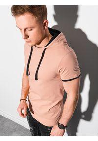 Pomarańczowy t-shirt Ombre Clothing z kapturem